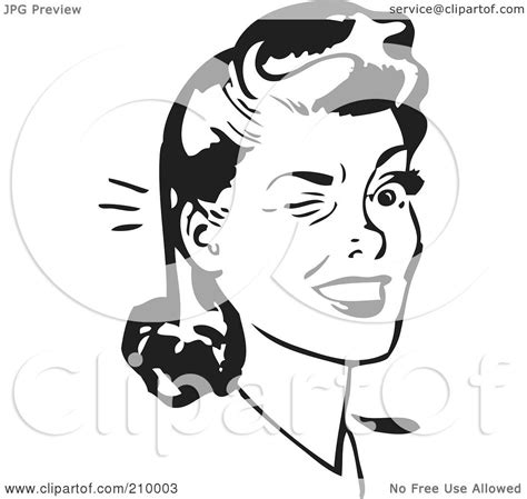 royalty free rf clipart illustration of a retro black and white winking by bestvector