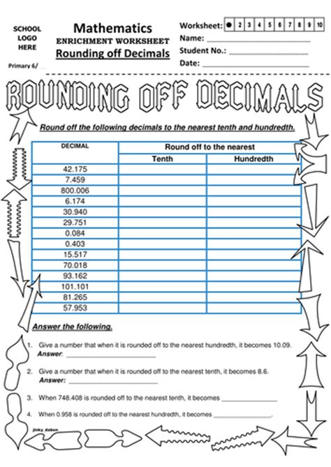 ks2 rounding off decimals to tenth and hundredth by jinkydabon teaching resources tes