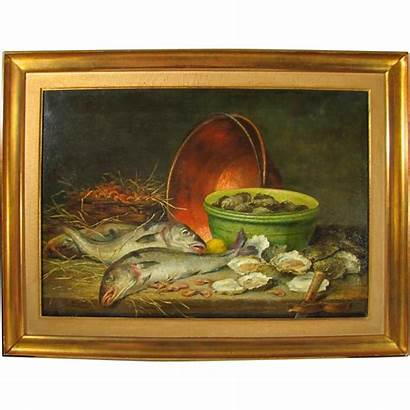Painting Still Antique Hunting Oysters Fish Oil