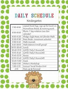 lanier39s lions kindergarten schedule With preschool classroom schedule template