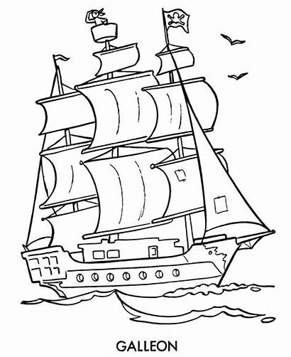 Pirate Ship Coloring Drawing Pages Cartoon Sheets