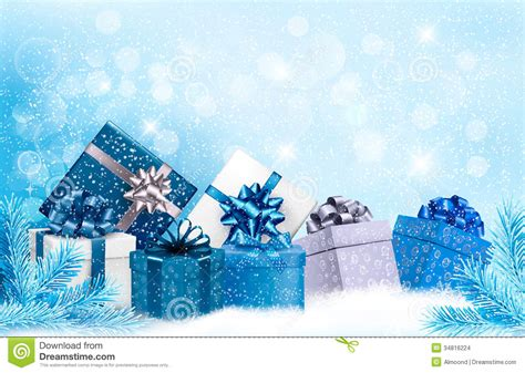 christmas blue background  gift boxes  snow stock