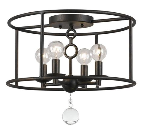crystorama bronze cameron 4 light flush mount