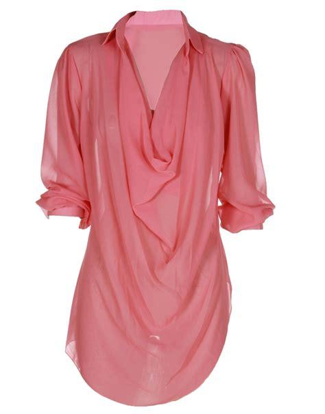 chiffon blouses coral pink plunge neck chiffon layered blouse