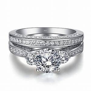 Mabella wedding ring set three stone 23 carats round for Three stone wedding ring set