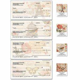 parisian postcard personal checks colorful images With checks and address labels