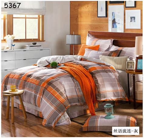 orange and gray comforter set aliexpress buy grey orange plaids bedding set 4pcs