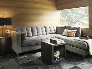 Elegant, Living, Room, Ideas, Decorating, With, Modern, Grey, Fabric, Tufted, Sectionals, Sofa