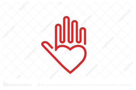 Unique Heart Healing Hand Logo