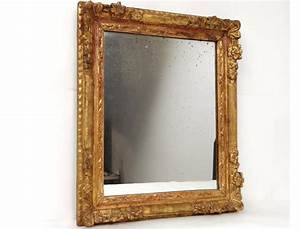 Carved wooden mirror frame golden flowers frame ice for Cadre miroir