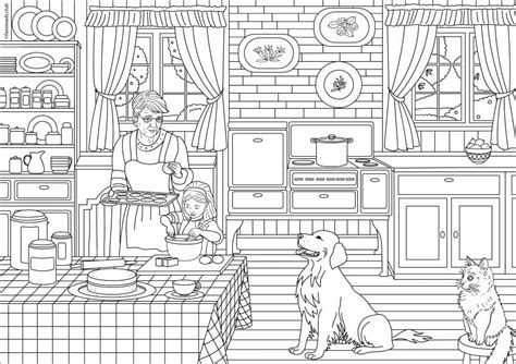 incredible ideas kitchen coloring page drawing cabinets