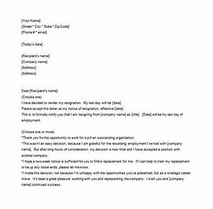 Notice Of Resignation Letter Template 10 Free Word Excel Pdf