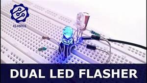 Dual Flashing Led Circuit Using 555 Timer On Breadboard