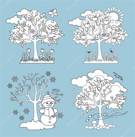 clipart da colorare quattro stagioni alberi clipart e vettoriali con primavera