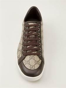 gucci monogram sneakers in brown lyst