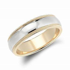 double milgrain comfort fit wedding ring in 14k white and With white yellow gold wedding rings