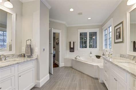 grey granite countertops bathroom craftsman  white
