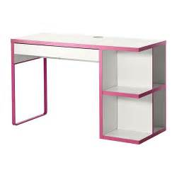 micke desk with integrated storage white pink ikea