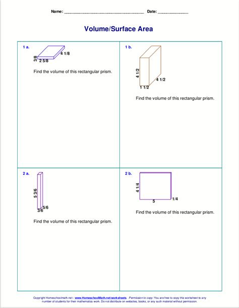 worksheets   volume  surface area  cubes
