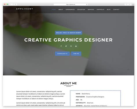 Resume Website Template by Best Resume Website Templates For Cv Wplook Themes