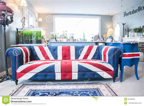 Union Jack Sofa Isolate On White Background With Clipping