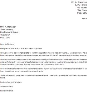 letter  resignation due  medical reasons md  rauf
