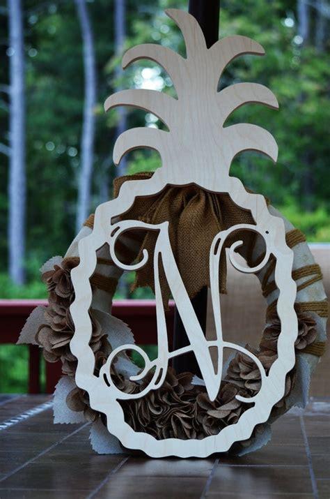 monogram door hanger pineapple monogram  wood shape