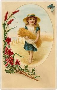 Cute, Vintage, Wheat, Harvest, Girl