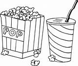 Popcorn Coloring Pages Kernel Drink Drawing Printable Template Sheets Getdrawings Box Worksheets Getcoloringpages Rocks Kawaii sketch template