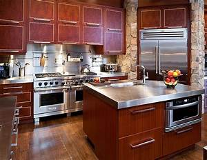 Mid Sized Kitchen With Custom Red Wood Cabinets Stone