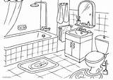 Coloring Bathroom Pages Printable sketch template