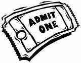 Coloring Tickets Ticket Pages Clipart Admission sketch template