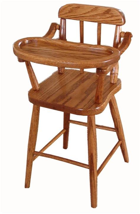 Oak Wood Doll Highchair With Spindle From Dutchcrafters Amish