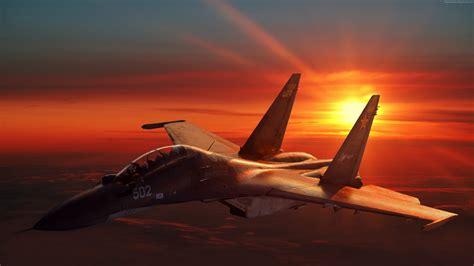 Wallpaper Sukhoi Su 30 Fighter Aircraft Sunset Russian