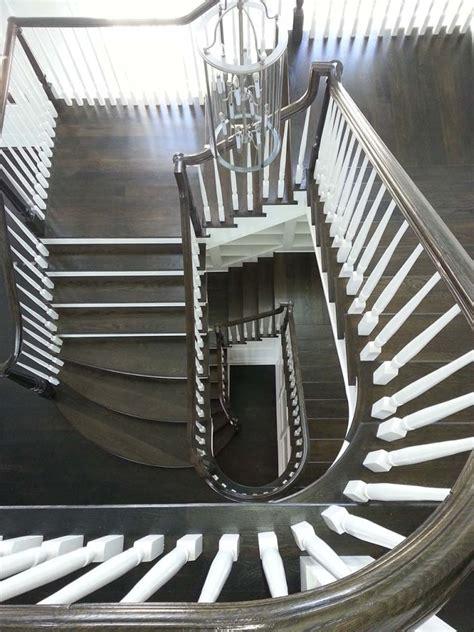 stunning  stairs  wood metal balusters