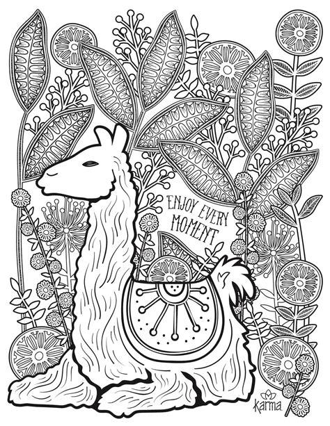 llama   printable coloring page  karma gifts
