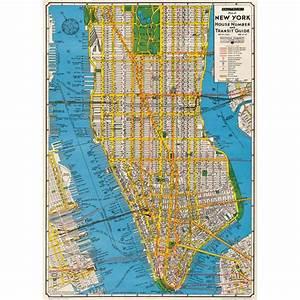 Plan De Manhattan : poster affiche plan new york manhattan vintage ~ Melissatoandfro.com Idées de Décoration