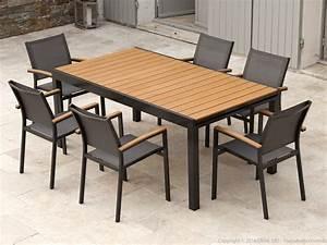 Salon De Jardin En Aluminium : salon de jardin aluminium gris et composite bois 1 table ~ Teatrodelosmanantiales.com Idées de Décoration