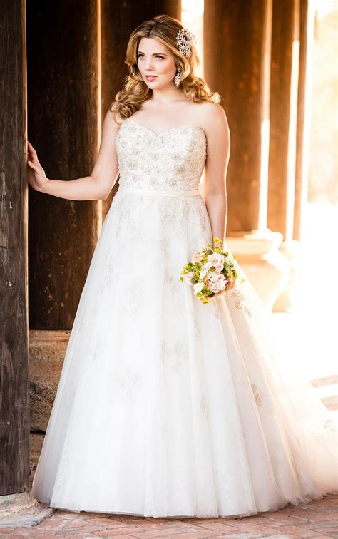 silver lace  size wedding dress stella york wedding