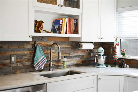 Reclaimed Wood Backsplash Kitchen • Kitchen Backsplash