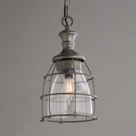 metal cage and open glass pendant pendant lighting by