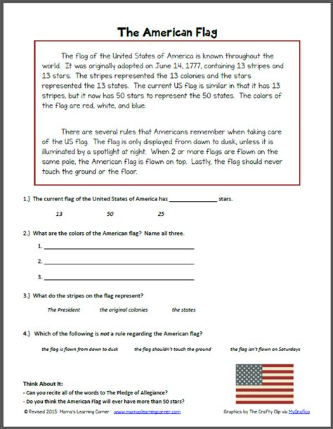 reading comprehension  american flag mamas learning
