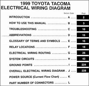1999 Toyota Tacoma Pickup Wiring Diagram Manual Original
