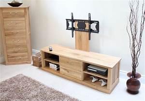 Mobel Solid Oak Mounted Widescreen TV Cabinet Modern