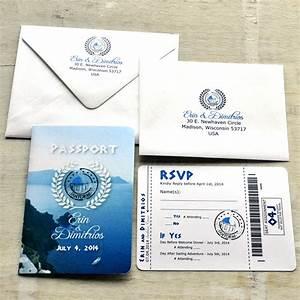passport wedding invitation design fee greek coast design With wedding invitations greek wording