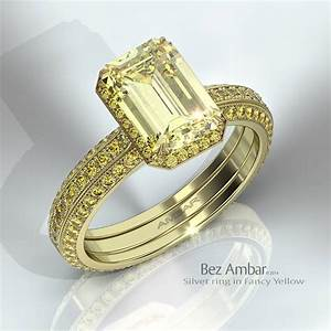 silvet engagement ring fancy yellow colored diamonds With colored diamond wedding ring sets
