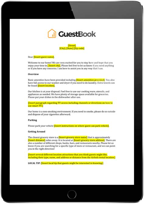 letter template guestbook airbnb property