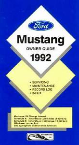 1992 Ford Mustang Owners Manual User Guide Reference