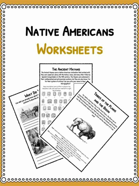 native american history facts worksheets  lesson