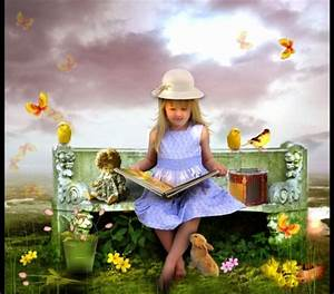 Little Girl Reading - Fantasy & Abstract Background ...